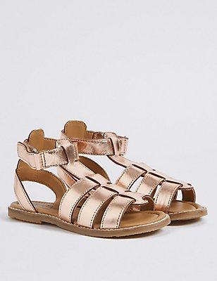 Kids' Leather Sandals, ROSE, catlanding