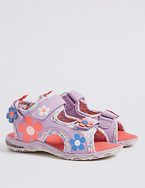 Kids' Riptape Floral Flashing Light Sandals, MULTI, catlanding