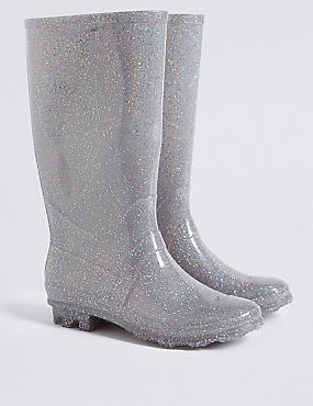Kids' Glitter Water Repellent Welly Boots , SILVER MIX, catlanding