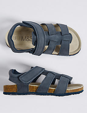 Kids' Leather Riptape Footbed Sandals, NAVY, catlanding