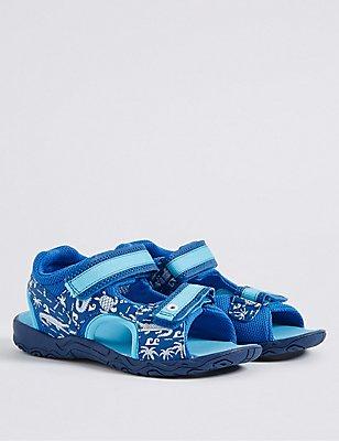 Kids' Scenic Print Trekker Sandals, BLUE MIX, catlanding