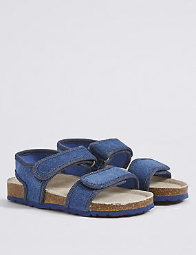 Kids' Footbed Riptape Sandals, DENIM, catlanding