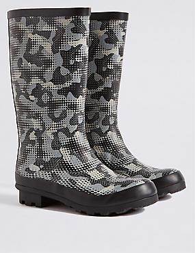 Kids' Water Repellent Wellington Boots, BLACK MIX, catlanding