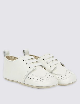 Kids' Leather Slip-on Pram Shoes, IVORY, catlanding
