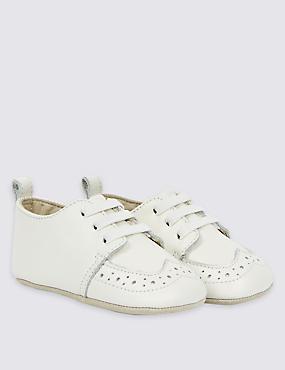 Kids' Leather Slip-on Pram Shoes, IVORY, catlanding