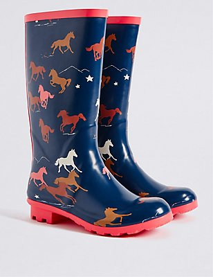 Kids' Horse Welly Boots, NAVY MIX, catlanding