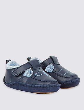 Kids' Leather Riptape T-Bar Shoes, BLUE MIX, catlanding