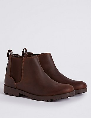 Kids' Leather Pull-on Ankle Boots, BROWN MIX, catlanding