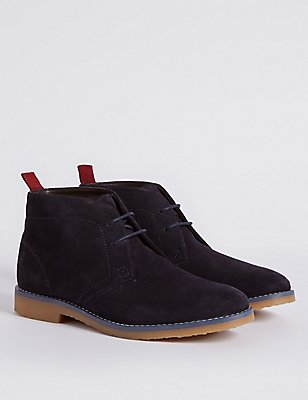 Kids' Suede Lace-up Ankle Boots, NAVY, catlanding