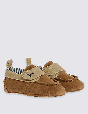 Kids' Leather Riptape Boat Shoes, TAN, catlanding
