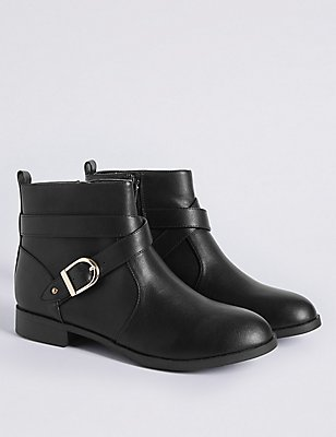 Kids' Buckle Ankle Boots, BLACK, catlanding