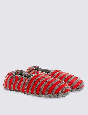 Kids' Stripe Slippers, RED MIX, catlanding