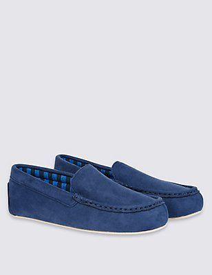 Kids' Moccasin Slip-on Slippers, NAVY, catlanding