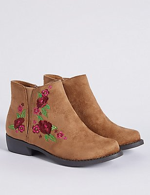 Kids' Embroidered Ankle Boots, TAN, catlanding