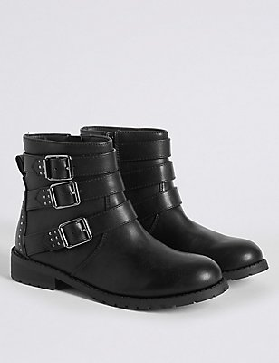 Kids' Buckle Biker Ankle Boots, BLACK, catlanding
