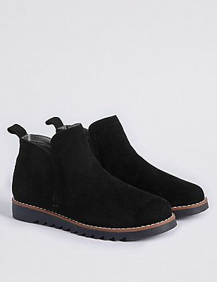 Kids' Suede Pull-on Ankle Boots, BLACK, catlanding