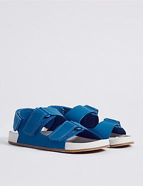 Kids' Riptape Footbed Sandals, BLUE, catlanding