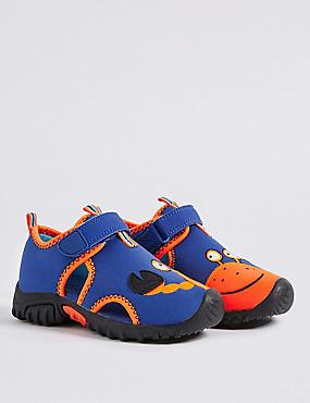 Kids' Crab Motif Water Shoes, BLUE MIX, catlanding