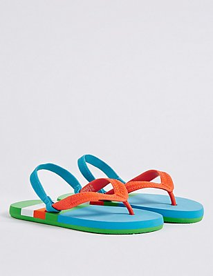 Kids' Striped Flip-flops, MULTI, catlanding