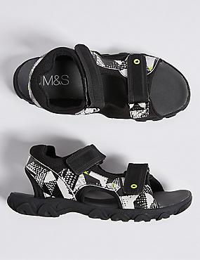 Kids' Geometric Print Trekker Sandals, MEDIUM GREY, catlanding