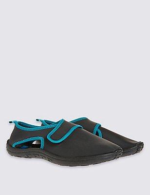 Kids' Aqua Sock Riptape Sandals, GREY MIX, catlanding