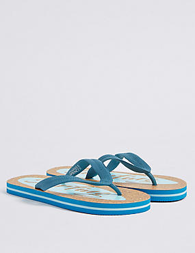 Kids' Cork Flip-flops, BLUE MIX, catlanding