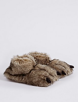 Kids' Faux Fur Slippers, BROWN, catlanding