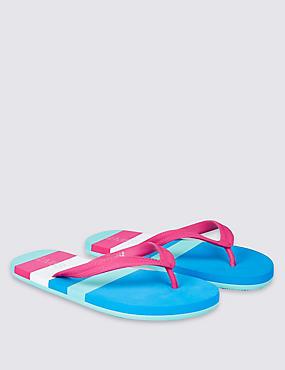 Flip-Flops für Kinder mit Streifendesign, MEHRFARBIG, catlanding