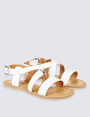 Kids' Leather Flat Sandals, WHITE, catlanding