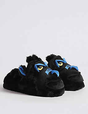 Kids' Slip-on Gorilla Slippers, BLACK MIX, catlanding