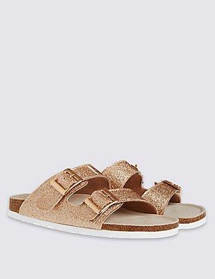 Kids' Glitter Footbed Sandals, GOLD, catlanding
