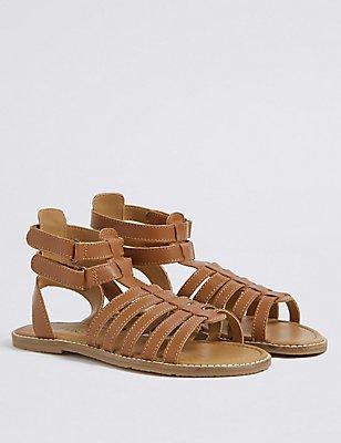 Kids' Leather Gladiator Sandals, TAN, catlanding