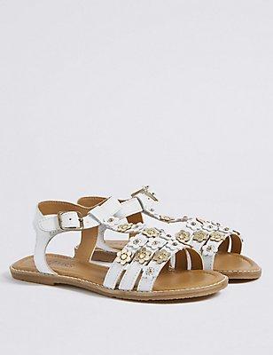 Kids' Leather Sandals, WHITE, catlanding