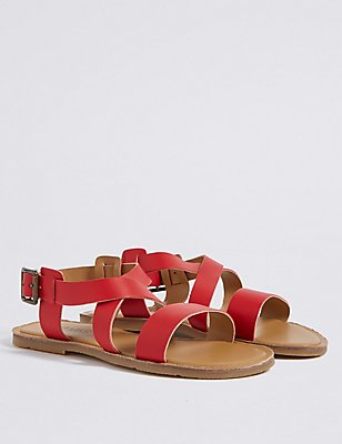 Kids' Leather Sandals, RED, catlanding