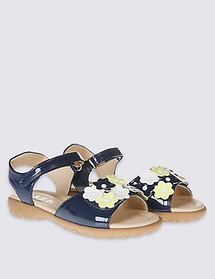 Kids' Riptape Applique Flower Sandals, BLUE MIX, catlanding
