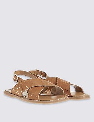 Kids' Leather Sandals, TAN, catlanding