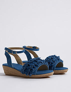 Kids' Denim Wedge Sandals, MED BLUE DENIM, catlanding