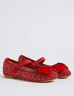 Kids' Crunch Glitter Cross Bar Shoes, RED, catlanding