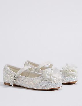 Kids' Bridesmaid Sequin Cross Bar Shoes, IVORY, catlanding
