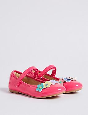Kids' Floral Riptape Cross Bar Shoes, PINK MIX, catlanding