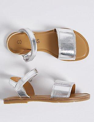Kids' Leather Riptape Sandals, SILVER, catlanding