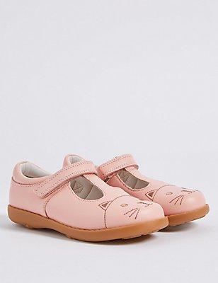 Kids' Leather Riptape T-Bar Shoes, PINK, catlanding