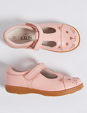 Kids' Leather Riptape T-Bar Shoes, PINK, catlanding