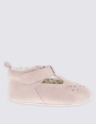 Kids' Sparkle Suede T-Bar Shoes, PINK, catlanding