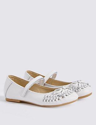 Kids' Riptape Ballerina Shoes, WHITE, catlanding