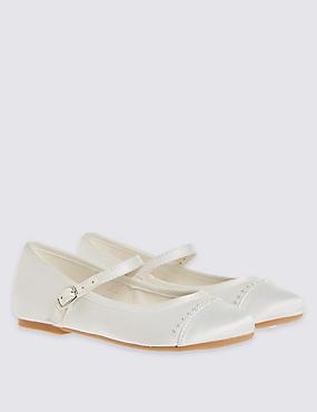 Zapatos infantiles con tira cruzada y adorno de perlas, MARFIL, catlanding
