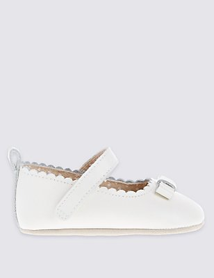 Baby Leather Riptape Cross Bar Shoes, IVORY, catlanding