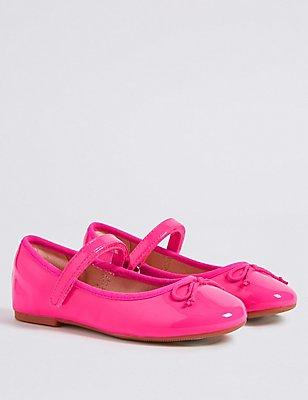 Kids' Riptape Ballerina Shoes, HOT PINK, catlanding