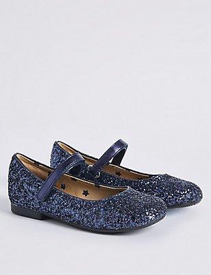 Kids' Riptape Glitter Cross Bar Shoes, NAVY, catlanding