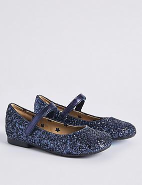 Kids' Glitter Cross Bar Shoes, NAVY, catlanding